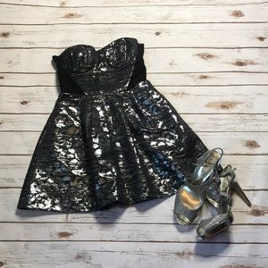 Black and silver bustier style dress